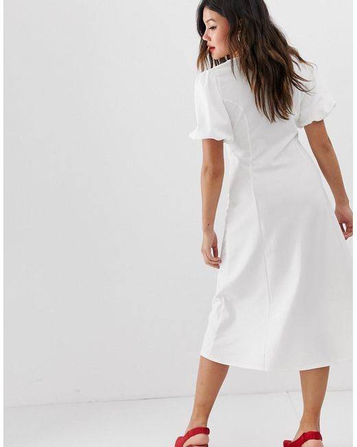 39aa77a1dfcdd ... ASOS - White Midi Skater Dress With Puff Sleeves And Contrast Buttons -  Lyst