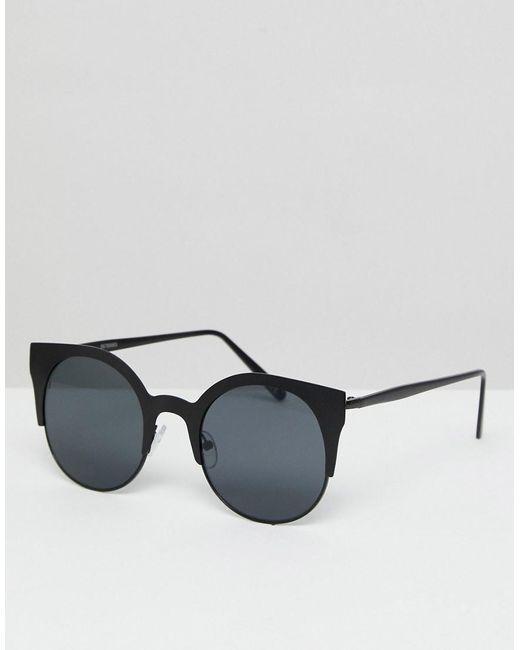 ASOS - White Asos Half Kitten Cat Eye Metal Sunglasses In Matt Black - Lyst