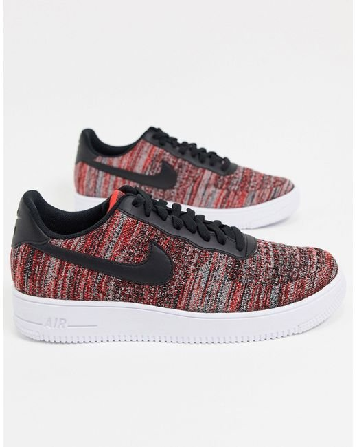 Nike Red Air Force 1 Flyknit 2.0 for men