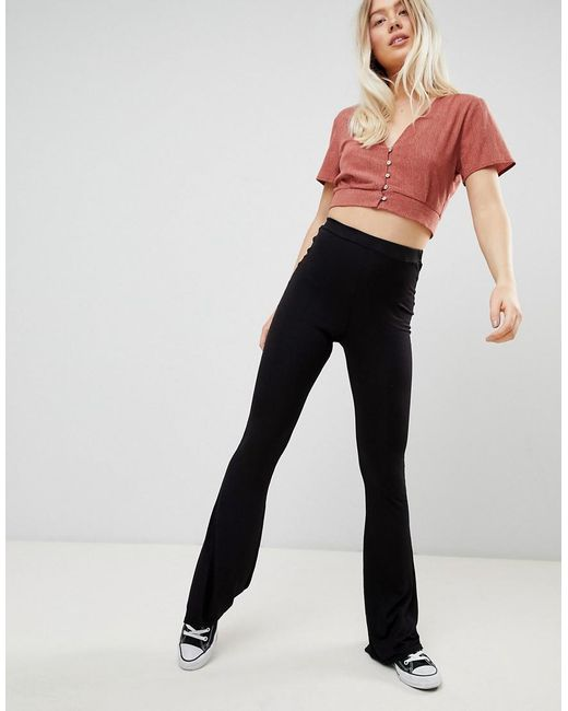 Flare Trousers In Fine Stripe - Black Daisy Street From China Low Shipping Fee rZigke07Et