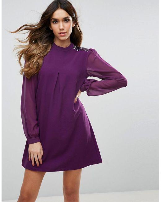 Traffic People | Purple Long Sleeve Shift Dress | Lyst