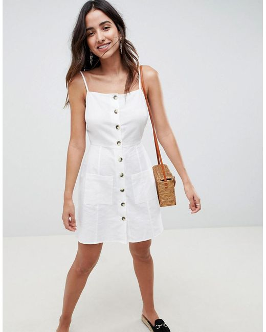 6c408def77b ASOS - White Button Through Linen Mini Sundress - Lyst ...