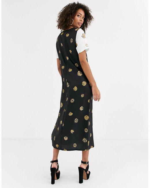 Платье Миди С Контрастными Рукавами И Леопардовым Принтом -мульти Never Fully Dressed, цвет: Black