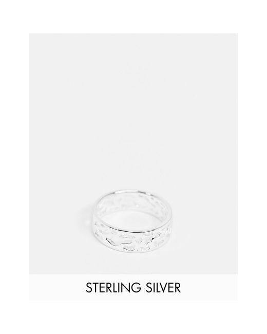ASOS Metallic Sterling Silver Band Ring With Camouflage Design for men