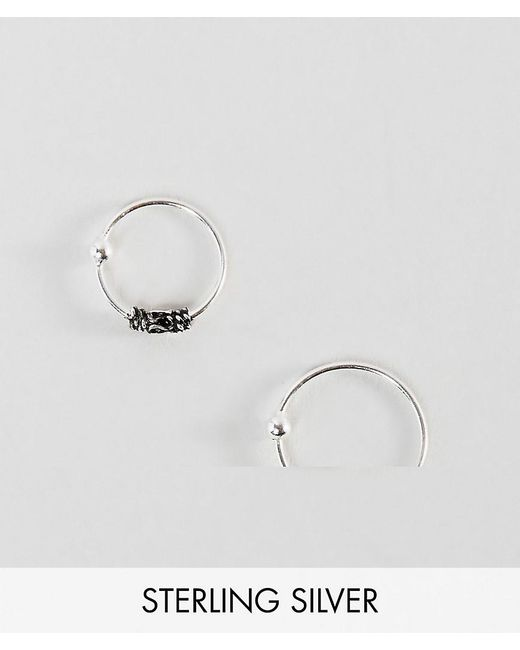 ASOS | Metallic Sterling Silver Pack Of 2 Wire Wrap And Plain Nose Rings | Lyst