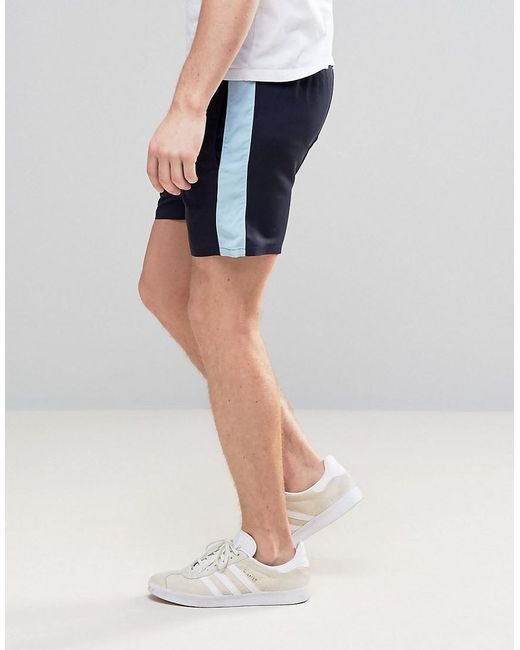 ... ASOS - Blue Slim Runner Shorts With Contrast Side Stripe In Navy for Men  - Lyst