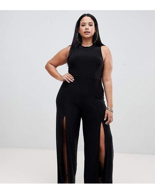 bc5fb66b96d Fashionkilla - High Neck Jumpsuit With Front Thigh Split In Black - Lyst ...