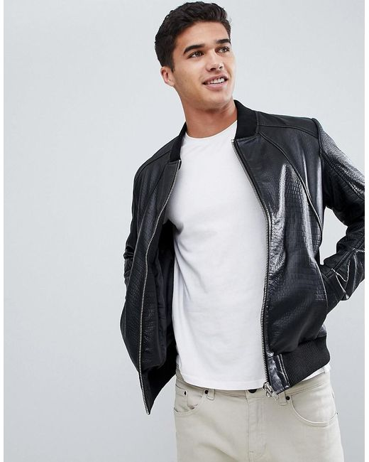 Barney's Originals - Black Textured Real Leather Jacket for Men - Lyst
