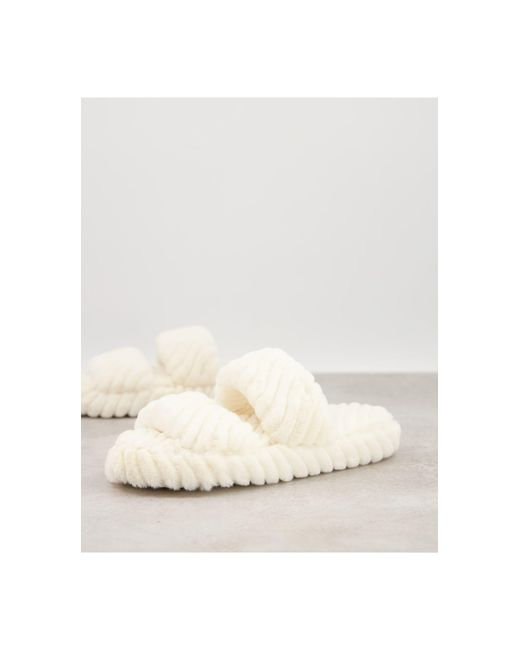 Кремовые Шлепанцы С Двумя Ремешками ASOS, цвет: Natural