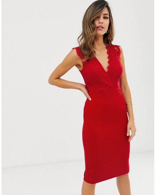 AX Paris Midi-jurk Met V-hals in het Red