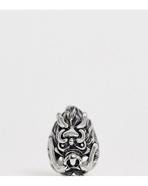 Reclaimed (vintage) Inspired - Ring aus Edelstahl mit Oversize-Drachendetail, exklusiv bei ASOS in Metallic für Herren