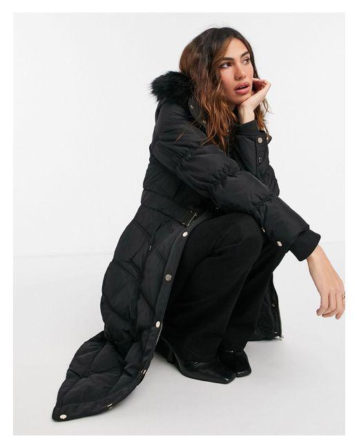 Abrigo largo negro acolchado con capucha River Island de color Black