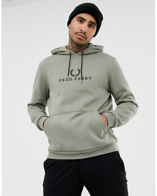 Fred Perry - Green Sports Authentic 90s Embroidered Logo Hoodie In Pale Khaki for Men - Lyst