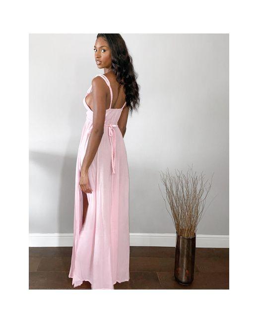Розовое Пляжное Платье Макси С Плетеной Отделкой ASOS, цвет: Multicolor