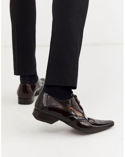 Коричневые Блестящие Кожаные Туфли С Контрастной Отделкой Pino Jeffery West для него, цвет: Black