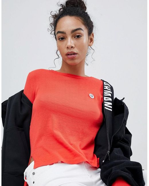 Armani Exchange - Red Face Motif Long Sleeve Top - Lyst