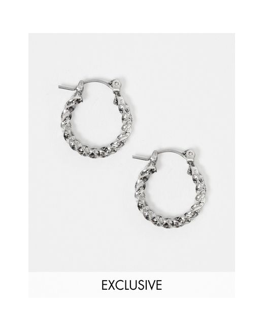 Серебристые Серьги-кольца Inspired-серебряный Reclaimed (vintage) для него, цвет: Metallic