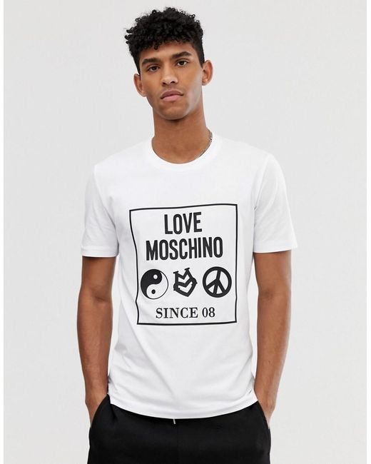 288864724d880 Love Moschino Box Logo T-shirt in White for Men - Save 45% - Lyst
