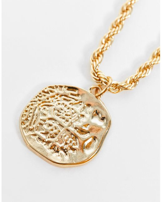 Золотистое Ожерелье-цепочка В Несколько Рядов С Подвеской В Виде Монетки -золотистый Pieces, цвет: Metallic