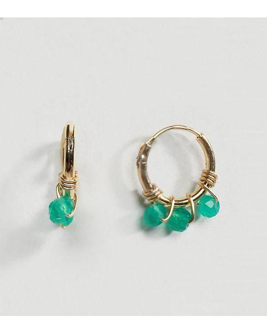 Orelia - Metallic Gold Plated Micro Beaded Hoop Earrings - Lyst