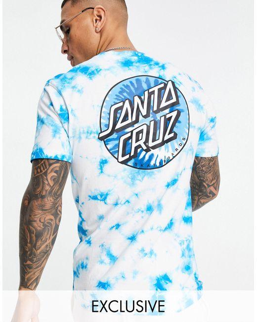 Santa Cruz Blue Classic Dot Tie Dye T-shirt for men