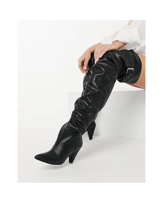Черные Сапоги-ботфорты С Голенищем Гармошкой ASOS, цвет: Black