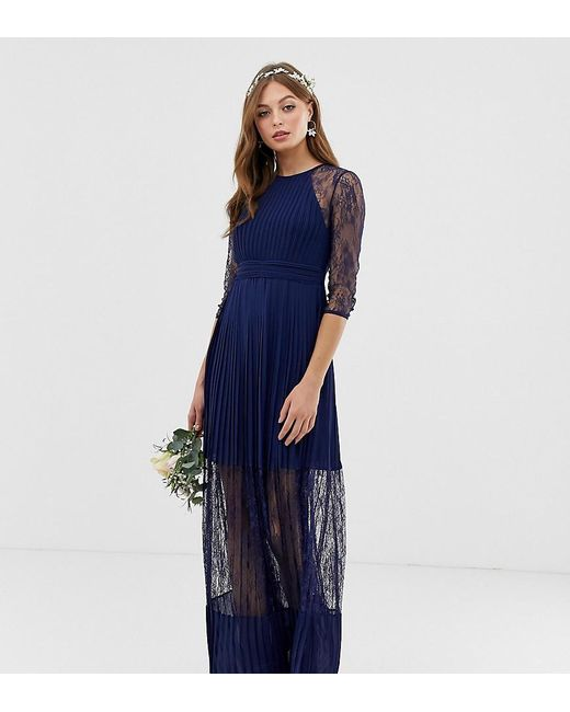 TFNC London Blue Bridesmaid Exclusive Pleated Maxi Dress With Lace Insert In Navy
