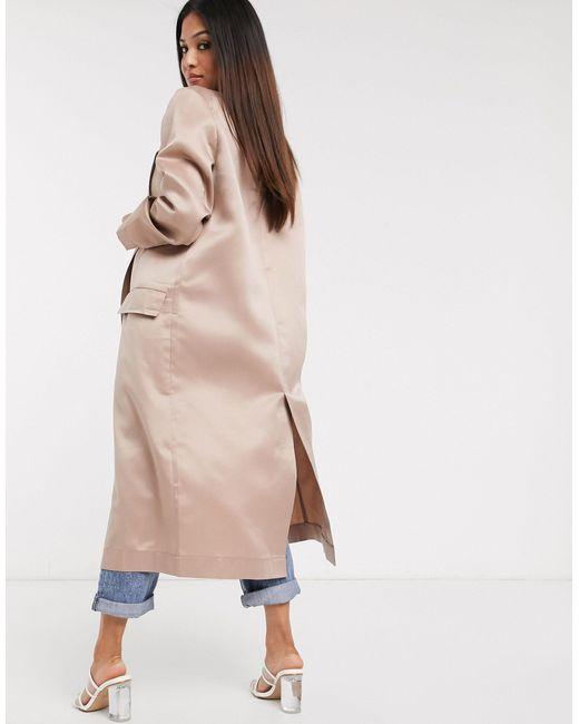 Бежевое Легкое Пальто ASOS, цвет: Pink