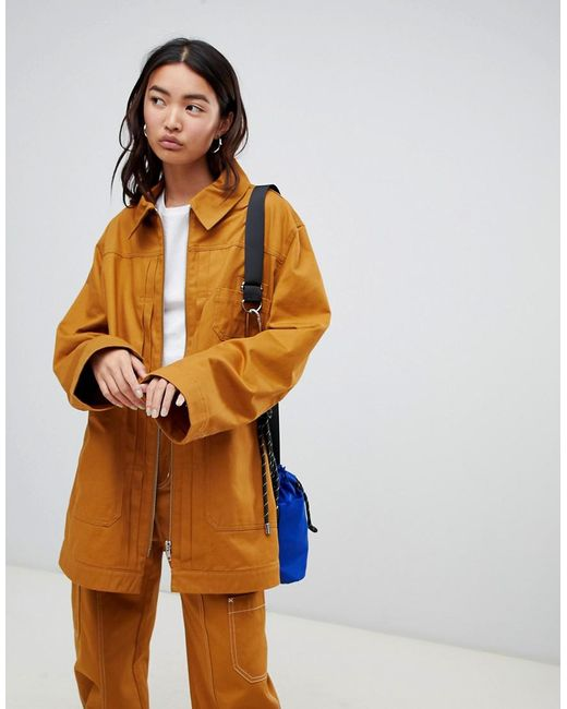 Weekday - Yellow Zip Thru Utitlity Jacket - Lyst