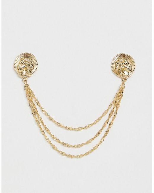 ASOS - Metallic Stamped Coin Inspired Collar Tips for Men - Lyst