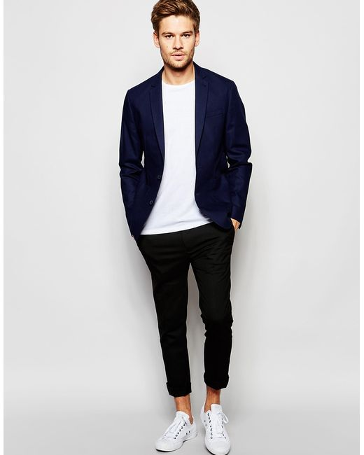 Selected Slim Casual Lightweight Suit Jacket in Blue for Men | Lyst