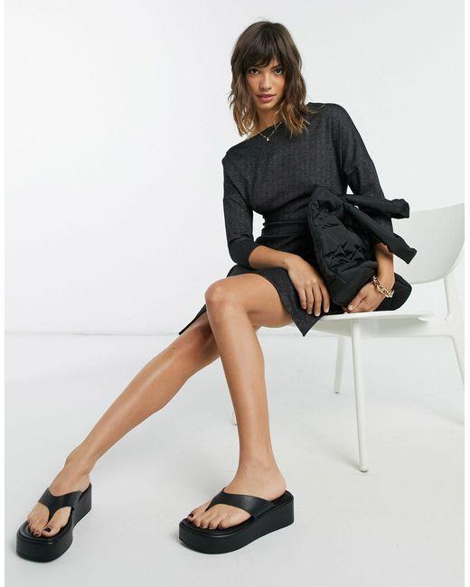 Черное Платье Мини С Открытыми Плечами И Укороченными Рукавами -черный Цвет Closet, цвет: Black