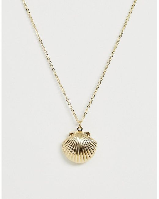 Pieces Metallic Shell Necklace In Gold
