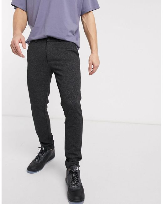 River Island Gray Textured Casual Trousers for men