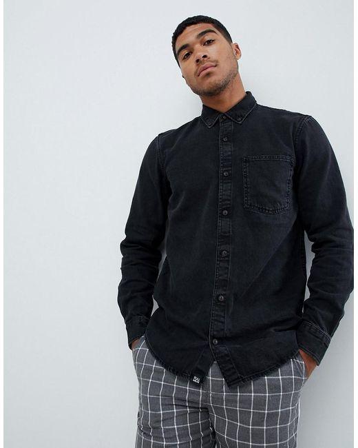 Pull&Bear - Denim Shirt In Black for Men - Lyst