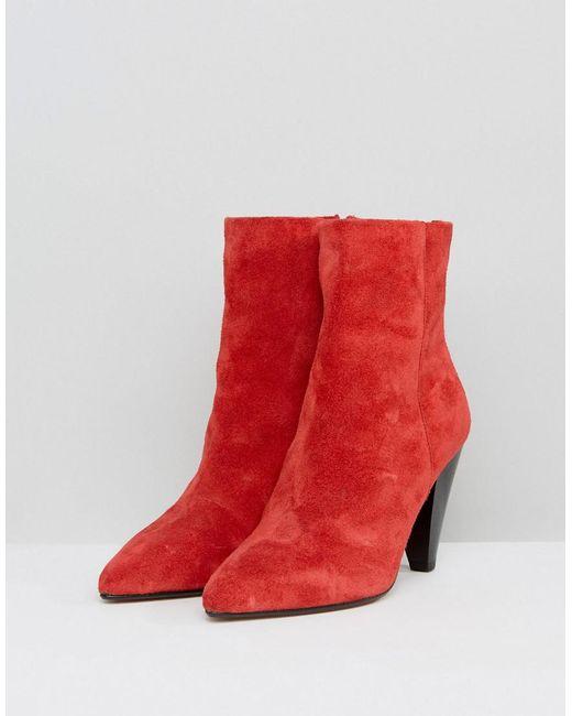 ELODIE Suede Cone Heel Boots - Red suede Asos Mek1ux0PSo
