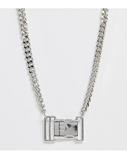 ASOS Metallic Asos Design Curve Necklace With Buckle Pendant In Silver Tone