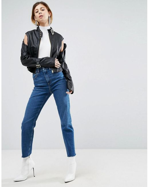 lyst asos fencing jacket in faux leather in black
