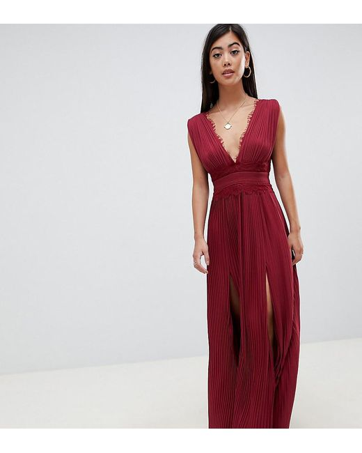 9ffdbacd76871 ASOS - Red Asos Design Petite Premium Lace Insert Pleated Maxi Dress - Lyst  ...