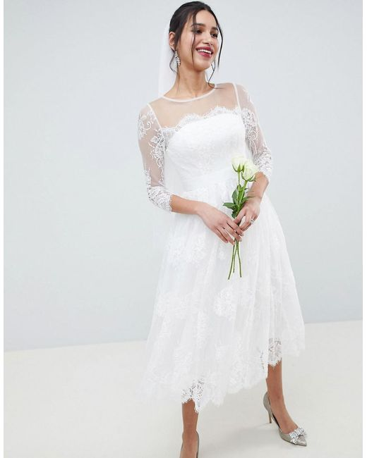Lyst - Asos Lace Long Sleeve Midi Prom Wedding Dress in White