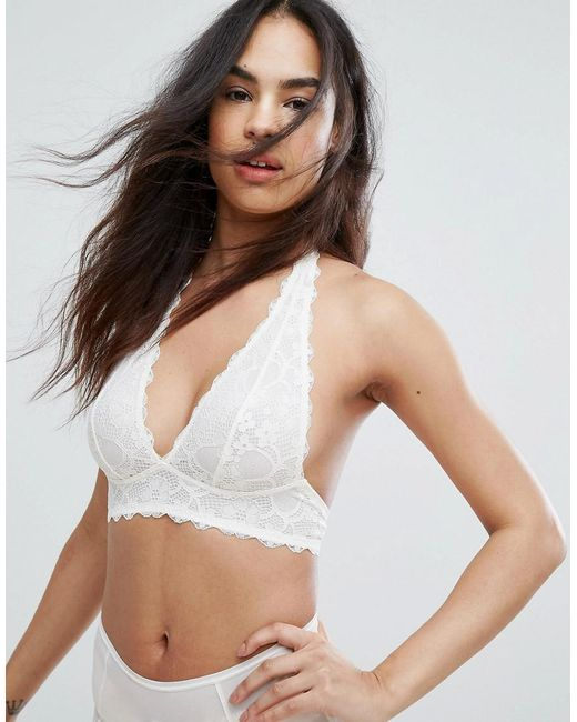 Free People | White Galloon Lace Halterneck Bra | Lyst