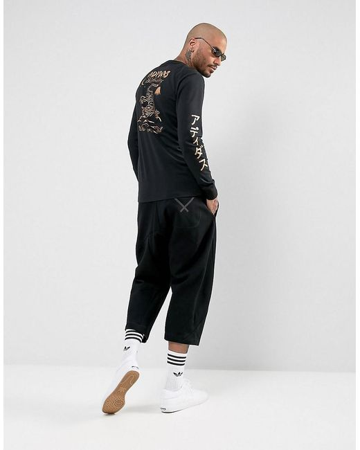 Adidas originals long sleeve t shirt with arm print br4935 for Shirts for men with long arms