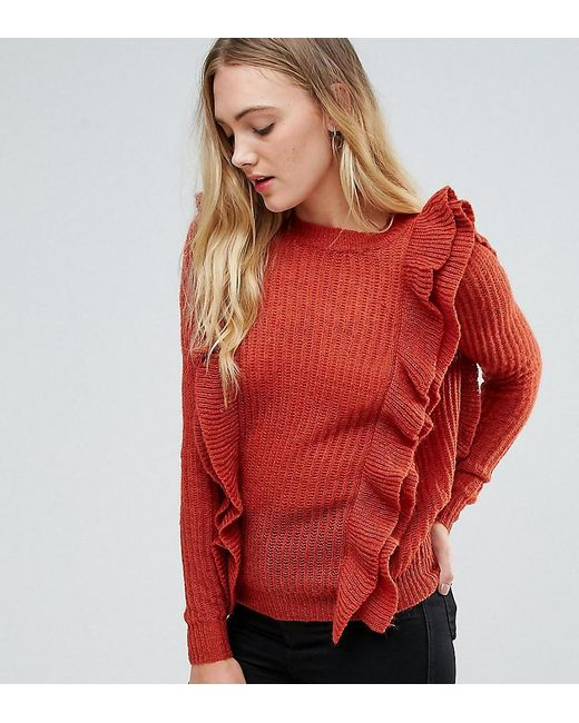 Y.A.S Orange Oversized Ruffle Sweater