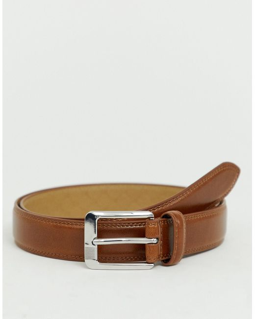 Cintura con fibbia a righe cuoio di River Island in Brown da Uomo