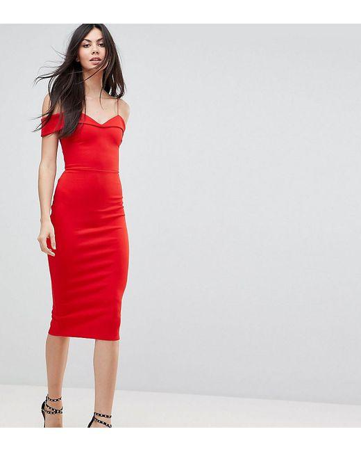 43e7544a68ec ASOS - Red Scuba Strappy Bardot Pencil Midi Dress - Lyst ...