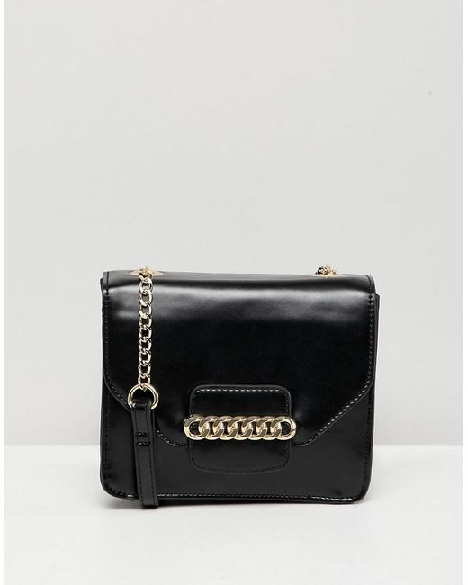 ASOS - Black Cross Body Bag With Chain Detail - Lyst