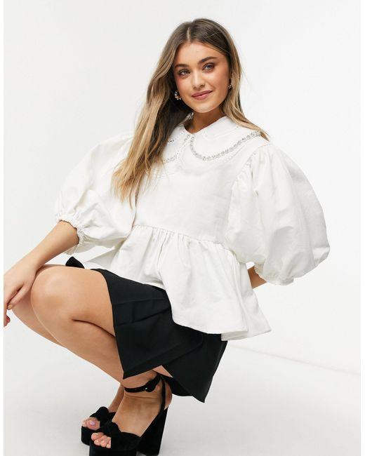 Белая Блузка С Отложным Воротником И Отделкой Dream -белый Sister Jane, цвет: White