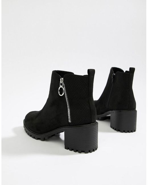 05d11beacee Women's Black Chunky Cleated Sole Mid-heel Ankle Boot