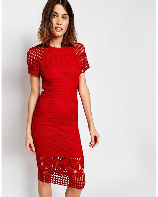 Warehouse Premium Lace Pencil Dress - Red In Red