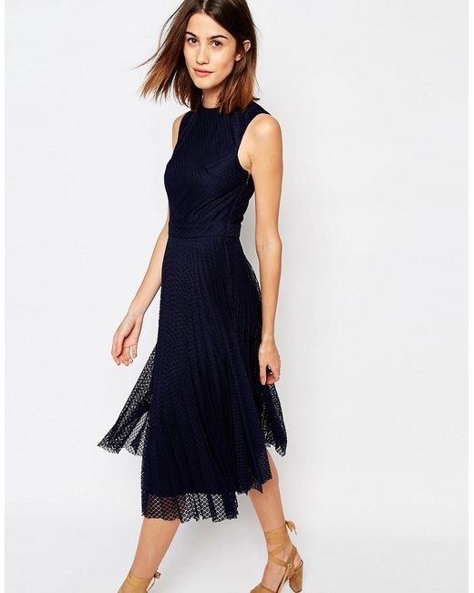 Warehouse Pleated Lace Midi Dress In Blue